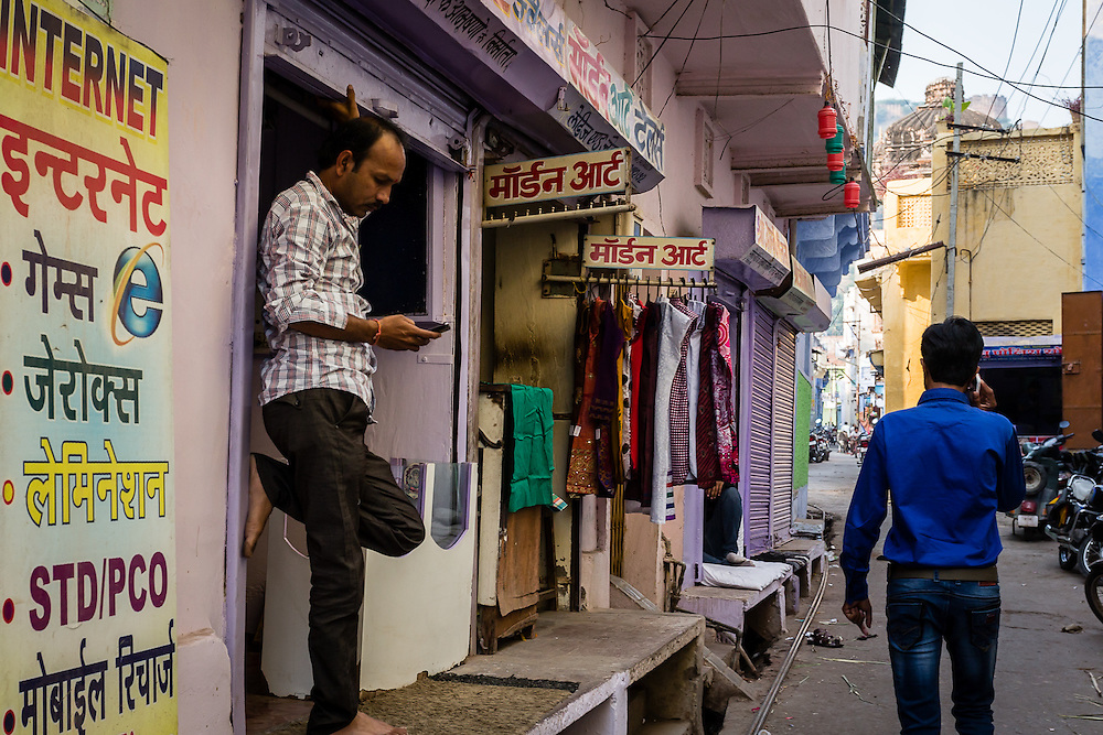 The ubiquitous mobile phone has become part of the way of life in Bundi, Rajasthan