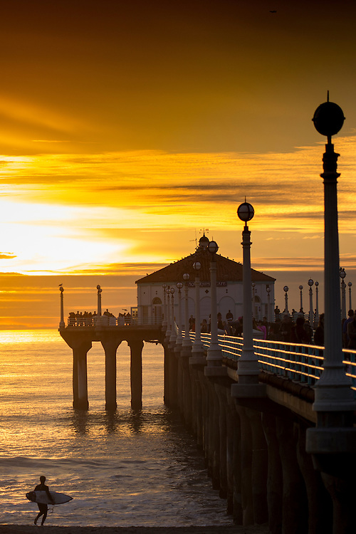 Sunset at Manhattan Beach in Los Angeles, California