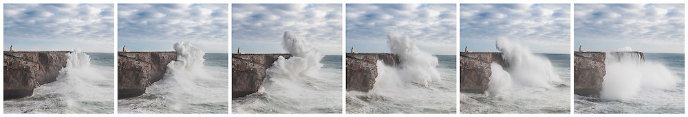 Sequence of a huge Hercules Black Swell wave, crashing against the Fortaleza de Sagres cliffs.