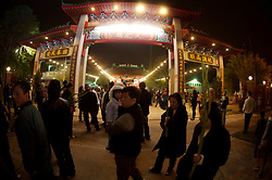 Stock photo of a group of people outside a temple during the Chinese New Year celebrations in Houston Texas