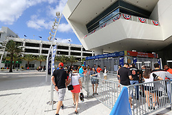 April 10, 2017 - Miami, FL, USA - Fans line up outside before the start of the Miami Marlins' home opener, against the Atlanta Braves, at Marlins Park in Miami on Tuesday, April 11, 2017. (Credit Image: © David Santiago/TNS via ZUMA Wire)