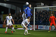 AFC Wimbledon striker Joe Pigott (39) winning header in the box during the EFL Sky Bet League 1 match between AFC Wimbledon and Burton Albion at the Cherry Red Records Stadium, Kingston, England on 28 January 2020.