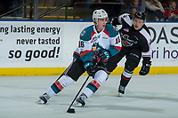 KELOWNA, CANADA - MARCH 7:  Kole Lind #16 of the Kelowna Rockets skates with the puck as he is back checked by James Malm #14 of the Vancouver Giants on March 7, 2018 at Prospera Place in Kelowna, British Columbia, Canada.  (Photo by Marissa Baecker/Shoot the Breeze)  *** Local Caption ***