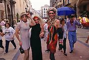 Transvestites enjoy strutting their stuff at the wine harvest festival in Logroño, Rioja, Spain.