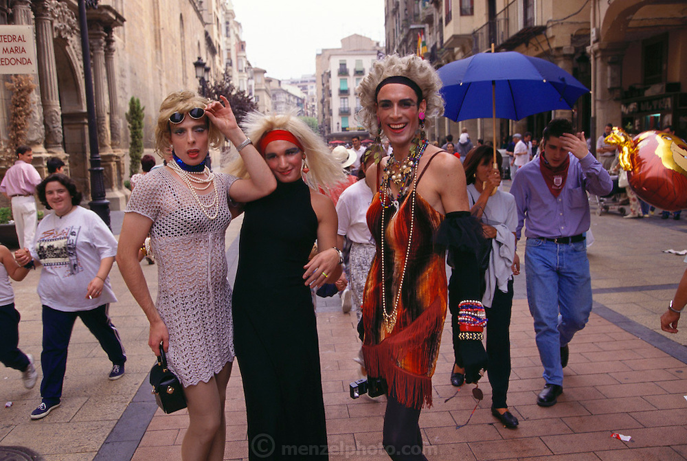 Transvestites enjoy strutting their stuff at the wine harvest festival in Logroño, Rioja, Spain.