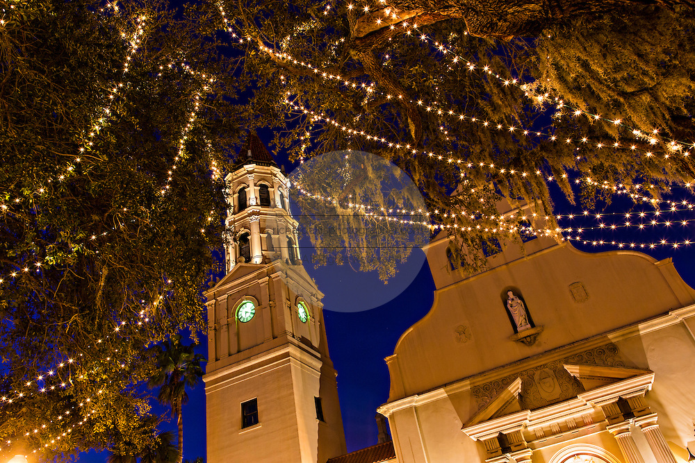 Christmas lights decorate the Cathedral Basilica of St Augustine in St. Augustine, Florida. The lights are part of the Night of Lights festival.