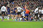 First try for Scotland by Allan Dell during the 2018 Autumn Test match between Scotland and Fiji at Murrayfield, Edinburgh, Scotland on 10 November 2018.