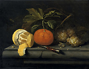 Fruit  on a Stone Table'.Still life. Johannes Borman (active 1653-1659) Dutch painter.  Oil on panel.