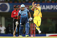 Jacques Rudolph of the Titans backs up as Mohit Sharma of Chennai Super Kings sends down a delivery during match 3 of the Karbonn Smart Champions League T20 (CLT20) 2013  between The Chennai Superkings and the Titans held at the JSCA International Cricket Stadium, Ranchi on the 22nd September 2013<br /> <br /> Photo by Shaun Roy-CLT20-SPORTZPICS  <br /> <br /> Use of this image is subject to the terms and conditions as outlined by the CLT20. These terms can be found by following this link:<br /> <br /> http://sportzpics.photoshelter.com/image/I0000NmDchxxGVv4