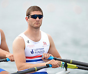 Trackai. LITHUANIA. GBR BM2X,  Jonathan WALTON, at the start in their morning heat in the men's double sculls on Lake Galve. 2012 FISA U23 Rowing Championships,  11:03:24 Thursday 12/07/2012 [Mandatory credit: Peter Spurrier/Intersport Images]..Rowing, U23, 2012.
