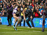 EDINBURGH, SCOTLAND - FEBRUARY 11: Scotland winger, Sean Maitland, scores the opening try for Scotland during the NatWest Six Nations match between Scotland and France at Murrayfield on February 11, 2018 in Edinburgh, Scotland. (Photo by MB Media/Getty Images)