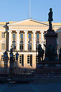 Senate Square; statue of Alexander II, a Russian Tsar.