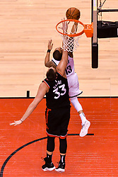 February 11, 2019 - Toronto, Ontario, Canada - Marc Gazol  #33 of the Toronto Raptors  blocks the shoot of Shabazz Napier #13 of the Brooklyn Nets during the Toronto Raptors vs Brooklyn Nets NBA regular season game at Scotiabank Arena on February 11, 2019, in Toronto, Canada (Toronto Raptors win 127-125) (Credit Image: © Anatoliy Cherkasov/NurPhoto via ZUMA Press)