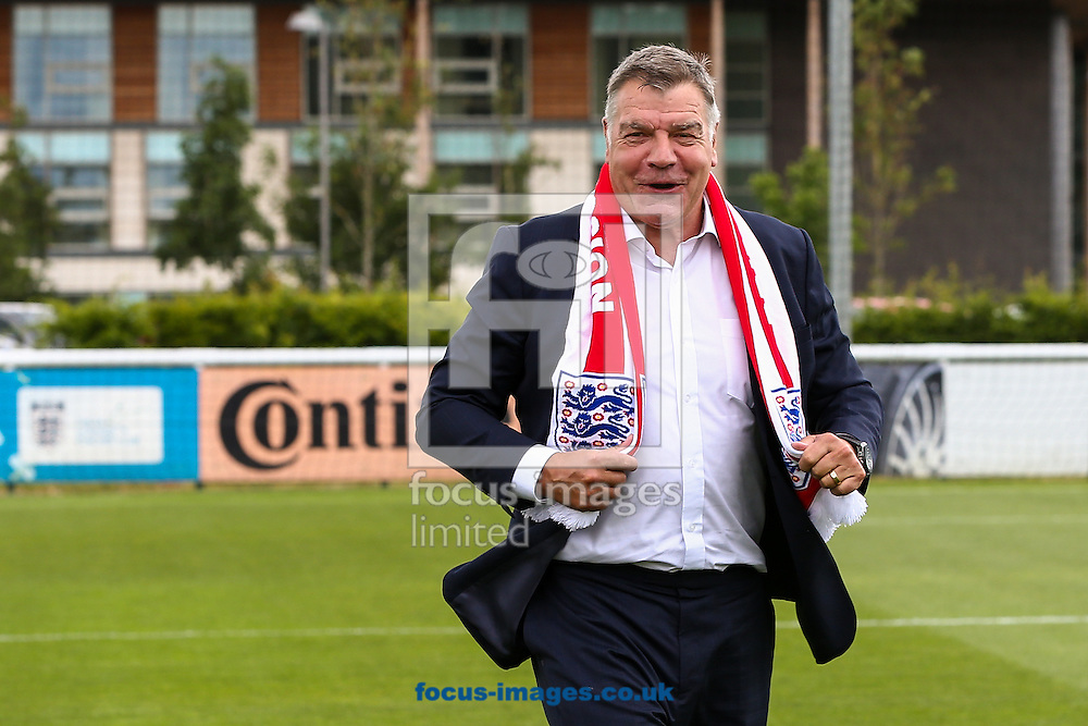 England manager, Sam Allardyce, has left his post following a meeting of the FA management after a newspaper investigation into alleged inappropriate advice about player transfers.<br /> Gareth Southgate will act as caretaker.<br /> Picture by Focus Images/Focus Images Ltd 07814 482222<br /> 27/09/2016<br /> <br /> File image for live news<br /> <br /> Original caption:<br /> <br /> Sam Allardyce displays his England scarf during The FA press conference to introduce Sam Allardyce as England Manager at the Hilton Hotel,  St Georges Park, Burton upon Trent, UK<br /> Picture by Andy Kearns/Focus Images Ltd 0781 864 4264<br /> 25/07/2016