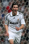 Real Madrid's Gonzalo Higuain celebrates during La Liga match, January 25, 2009.