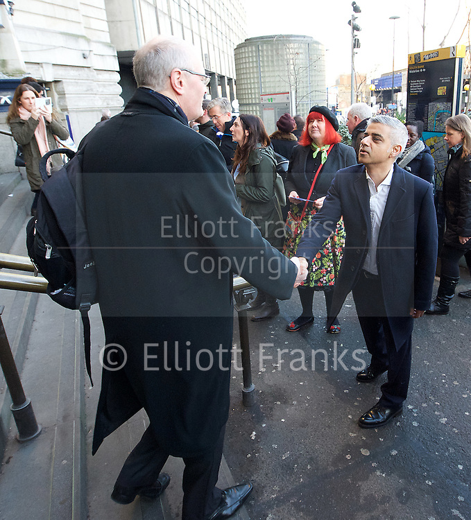 Sadiq Khan <br /> Mayor of London <br /> campaigns on rail fares and bringing commuter services under TfL control at Waterloo Station , London, Great Britain <br /> 3rd January 2017 <br /> <br /> <br /> Sadiq Khan <br /> Mayor of London <br /> greets commuters arriving at Waterloo station <br /> <br /> Photograph by Elliott Franks <br /> Image licensed to Elliott Franks Photography Services