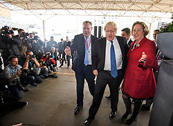 © Licensed to London News Pictures. 02/10/2018. Birmingham, UK. Former Foreign Secretary BORIS JOHNSON arrives at day three of the 2018 Conservative Party conference at the ICC in Birmingham, where he is due to speak. This years event is focused heavily on Brexit and negotiations with the EU over the UK's exit form the European Union. Photo credit: Ben Cawthra/LNP