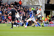 Cardiff City midfielder, Aron Gunnarsson (17) driving forward during the Sky Bet Championship match between Fulham and Cardiff City at Craven Cottage, London, England on 9 April 2016. Photo by Matthew Redman.