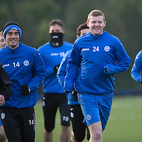 St Johnstone's Brian Easton pictured in training running alongside Callum Davidson and Brian Graham ahead of Sundays game against Hamilton Accies...30.12.14<br /> Picture by Graeme Hart.<br /> Copyright Perthshire Picture Agency<br /> Tel: 01738 623350  Mobile: 07990 594431