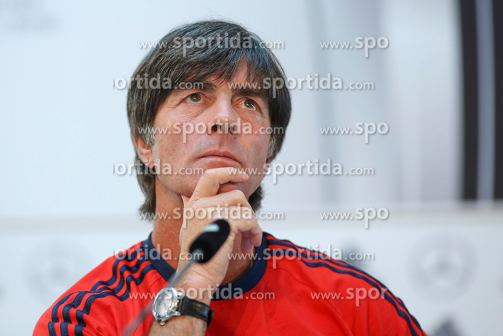 09.06.2015, Mercedes Center, Koeln, GER, FS Vorbereitung, Testspiel, Deutschland vs USA, Pressekonferenz, im Bild National-, Bundestrainer Joachim &quot;Jogi&quot; Loew schaut nachdenklich nach oben // during a press conference prior to the international friendly football match between Germany and USA Mercedes Center in Koeln, Germany on 2015/06/09. EXPA Pictures &copy; 2015, PhotoCredit: EXPA/ Eibner-Pressefoto/ Schueler<br /> <br /> *****ATTENTION - OUT of GER*****