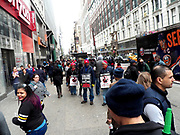 About 50 Verizon workers on picket-line outside Verizon Store on 34th Street in New York City in the fight for better working conditions, and improvements in wages and benefits for Verizon Wireless retail workers. Credit Mark Apollo/Hashtag Occupy Media