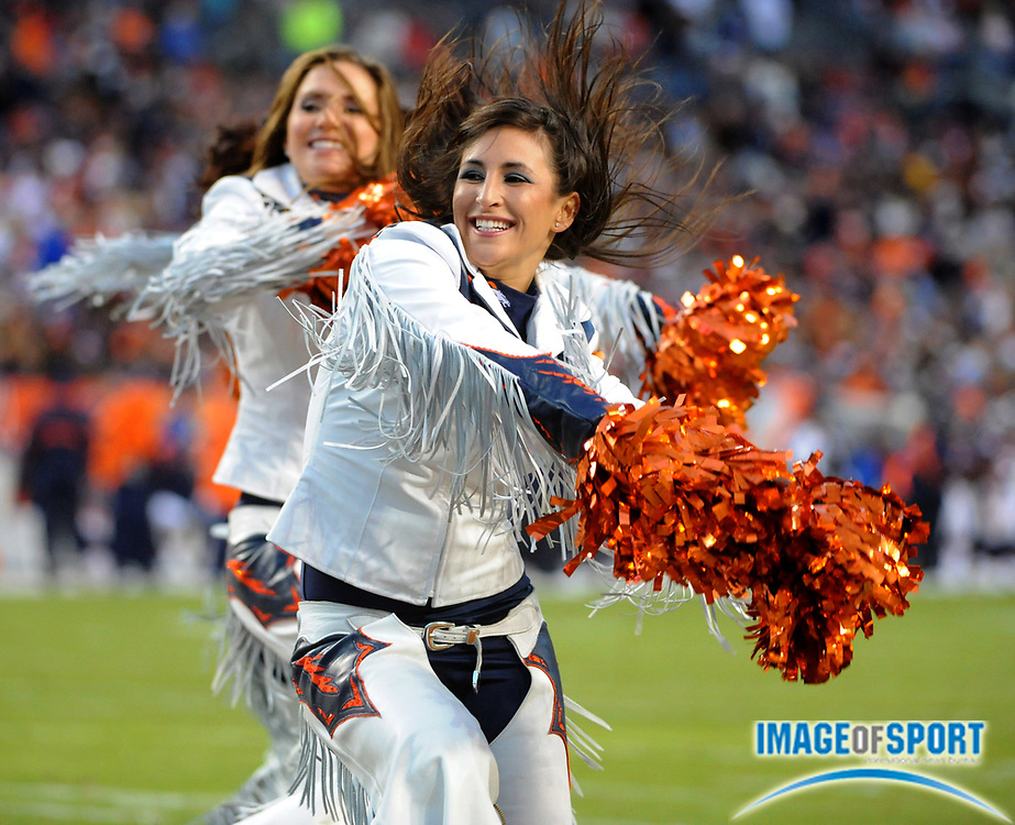 Nov 23, 2008; Denver, CO, USA; Denver Broncos cheerleaders perform during the game against the Oakland Raiders at Invesco Field.