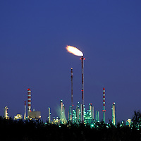 Canada, Alberta, Petro-Can oil refinery at twilight in Edmonton