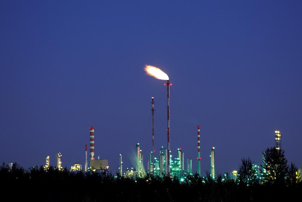 Canada, Alberta, Petro-Can oil refinery at twilight in Edmonton