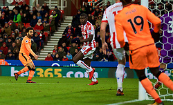 STOKE-ON-TRENT, ENGLAND - Wednesday, November 29, 2017: Liverpool's Mohamed Salah scores the first goal during the FA Premier League match between Stoke City and Liverpool at the  Bet365 Stadium. (Pic by David Rawcliffe/Propaganda)