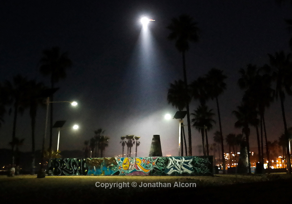 Art Walls,  LAPD helicopter night sun, Venice Beach<br /> photo by Jonathan Alcorn with Samsung NX300