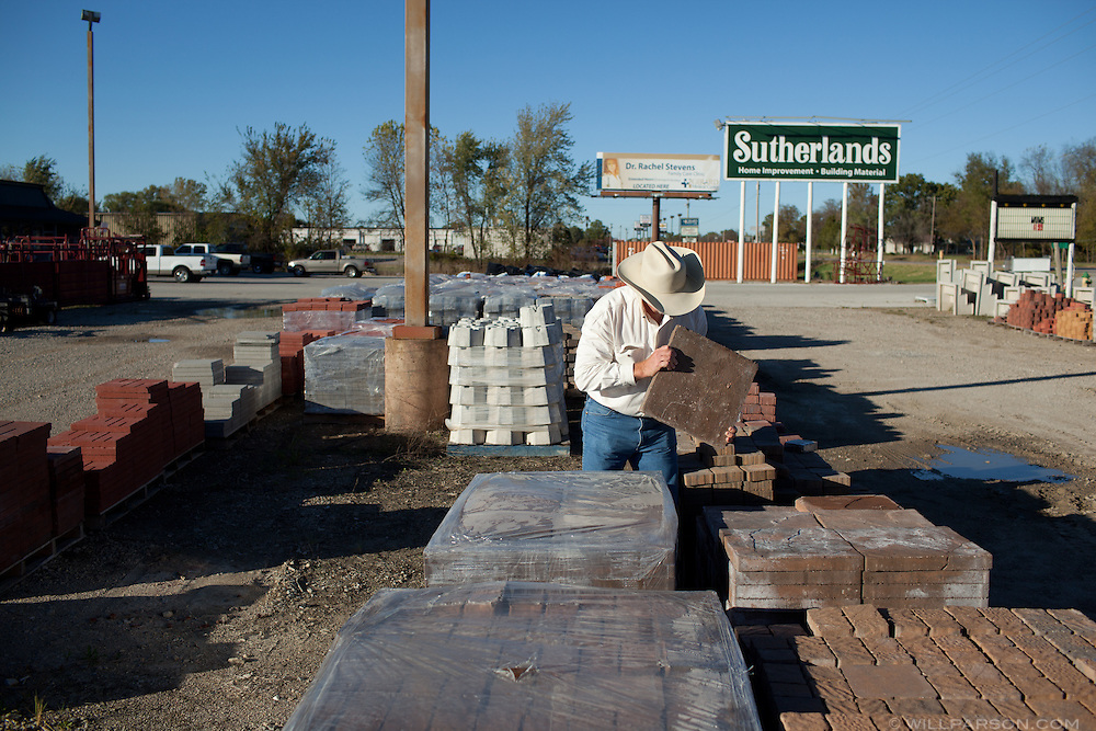 J Parson shops for stone to pave his home's walkway in Pittsburg, Kansas.