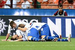 Football: Italy, Serie A, AC Mailand - Sampdoria Genua, Milan, 26.08.2012..Andrea Costa (Sampdoria) celebrates.!