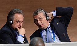 26.02.2016, Zürcher Hallenstadion, Zuerich, SUI, FIFA Kongress und Präsidentenwahl, im Bild Die FIFA Exekutivkomitee Mitglieder Wolfgang Niersbach (GER) und Vitaly Mutko (RUS) // during the extraordinary FIFA congress. Delegates of the soccer body FIFA meet to elect a new president at the Zürcher Hallenstadion in Zuerich, Switzerland on 2016/02/26. EXPA Pictures © 2016, PhotoCredit: EXPA/ Freshfocus/ Steffen Schmidt<br /> <br /> *****ATTENTION - for AUT, SLO, CRO, SRB, BIH, MAZ only*****