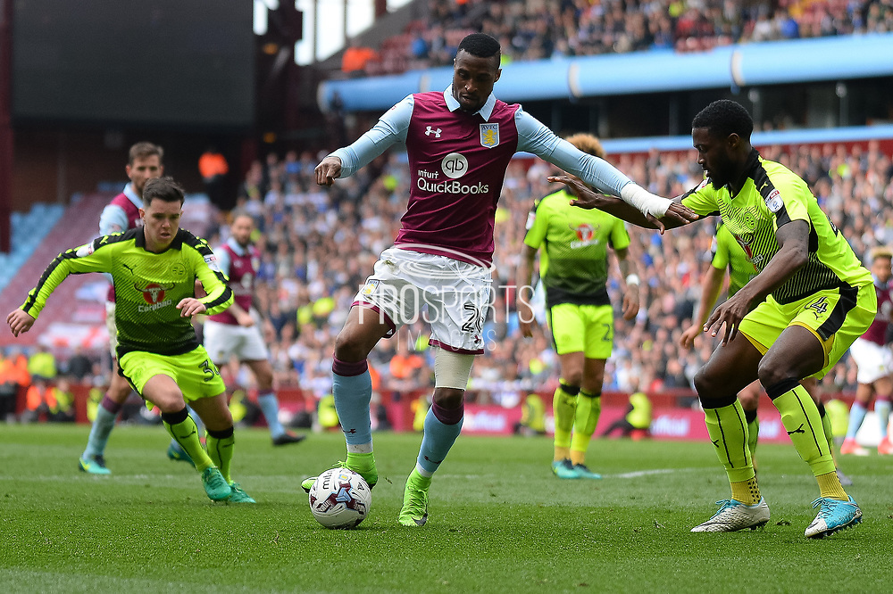 Aston Villa striker Jonathan Kodija (26) holds the ball during the EFL Sky Bet Championship match between Aston Villa and Reading at Villa Park, Birmingham, England on 15 April 2017. Photo by Dennis Goodwin.