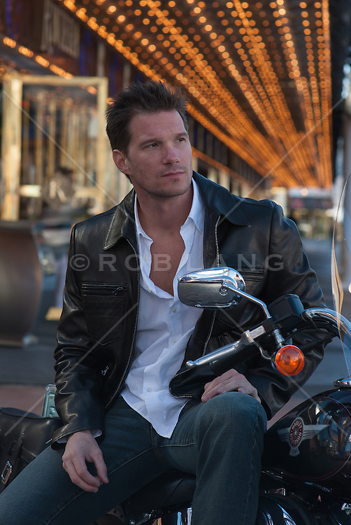 man sitting on a motorcycle in Las Vegas, NV