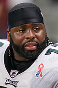 ST. LOUIS, MO - SEPTEMBER 11:   Jason Peters #71 of the Philadelphia Eagles on the sidelines during a game against the St. Louis Rams at the Edward Jones Dome on September 11, 2011 in St. Louis, Missouri.  The Eagles defeated the Rams 31 to 13.  (Photo by Wesley Hitt/Getty Images) *** Local Caption *** Jason Peters