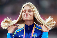 Great Britain, London - 2017 August 12: Silver medallist Yuliia Levchenko from Ukraine smiles while women's high jump awarding ceremony during IAAF World Championships London 2017 Day 9 at London Stadium on August 12, 2017 in London, Great Britain.<br /> <br /> Mandatory credit:<br /> Photo by © Adam Nurkiewicz<br /> <br /> Adam Nurkiewicz declares that he has no rights to the image of people at the photographs of his authorship.<br /> <br /> Picture also available in RAW (NEF) or TIFF format on special request.<br /> <br /> Any editorial, commercial or promotional use requires written permission from the author of image.