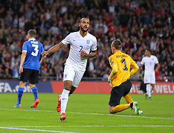 Theo Walcott of England celebrates after he scores the opening goal - Mandatory byline: Paul Terry/JMP - 07966 386802 - 09/10/2015 - FOOTBALL - Wembley Stadium - London, England - England v Estonia - European Championship Qualifying - Group E