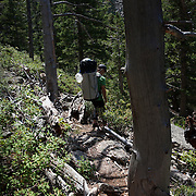 Hiking into our cliff camping site in Estes Park, Colorado. Lead by climbing instructor Brett Bloxom
