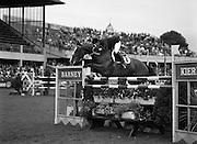 "08/08/1987<br /> 08/08/1987<br /> 08 August 1987<br /> RDS Horse Show, Ballsbridge, Dublin. The Irish Trophy - Grand Prix of Ireland. Paul Darragh (Ireland) on ""Carroll's Trigger""."