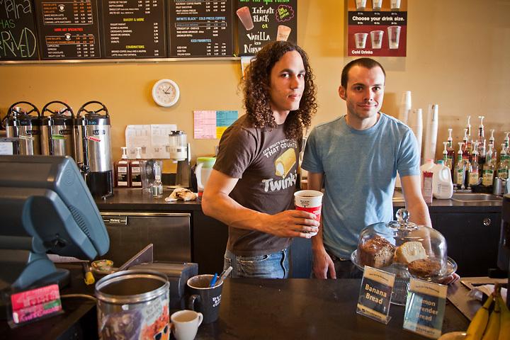 Armand Osbon and Devin McNally at Dunn Bros. Coffee, Fulton neighborhood, Minnesota, MN.