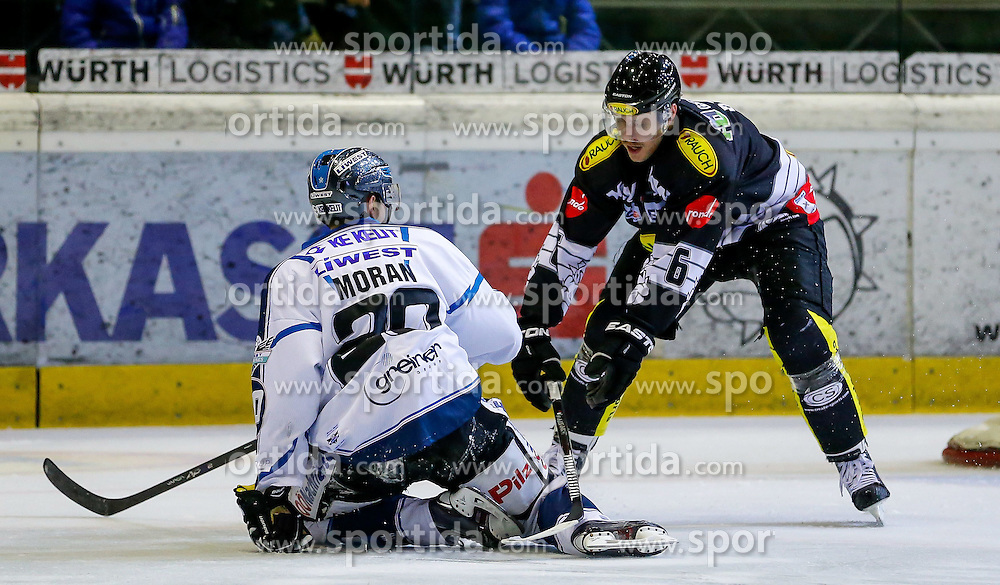 21.11.2014, Messestadion, Dornbirn, AUT, EBEL, Dornbirner EC vs EHC Liwest Black Wings Linz, 19. Runde, im Bild Brad Moran, (EHC Liwest Black Wings Linz #20) und Jonathan D'Aversa, (Dornbirner EC, #06)// during the Erste Bank Icehockey League 19th round match between Dornbirner EC and EHC Liwest Black Wings Linz at the Messestadion in Dornbirn, Austria on 2014/11/21, EXPA Pictures © 2014, PhotoCredit: EXPA/ Peter Rinderer