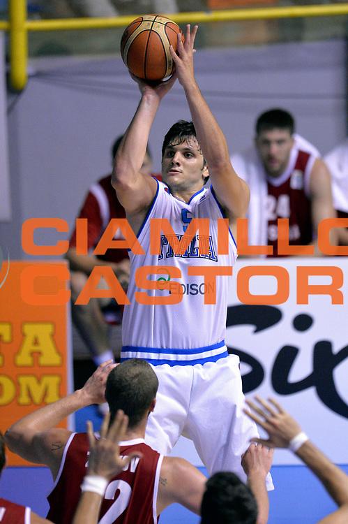 DESCRIZIONE : Cagliari Qualificazione Eurobasket 2015 Qualifying Round Eurobasket 2015 Italia Russia Italy Russia<br /> GIOCATORE : Alessandro Gentile <br /> CATEGORIA : Tiro<br /> EVENTO : Cagliari Qualificazione Eurobasket 2015 Qualifying Round Eurobasket 2015 Italia Russia Italy Russia<br /> GARA : Italia Russia Italy Russia<br /> DATA : 24/08/2014<br /> SPORT : Pallacanestro<br /> AUTORE : Agenzia Ciamillo-Castoria/Max.Ceretti<br /> Galleria: Fip Nazionali 2014<br /> Fotonotizia: Cagliari Qualificazione Eurobasket 2015 Qualifying Round Eurobasket 2015 Italia Russia Italy Russia<br /> Predefinita :