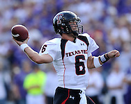 MANHATTAN, KS - OCTOBER 04:  Quarterback Graham Harrell #6 of the Texas Tech Red Raiders passes the ball down field in the second half against the Kansas State Wildcats on October 4, 2008 at Bill Snyder Family Stadium in Manhattan, Kansas.
