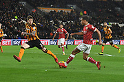 Bristol City midfielder Bobby Reid (14) and Hull City defender Ondrej Mazuch (3) during the EFL Sky Bet Championship match between Hull City and Bristol City at the KCOM Stadium, Kingston upon Hull, England on 25 November 2017. Photo by Ian Lyall.