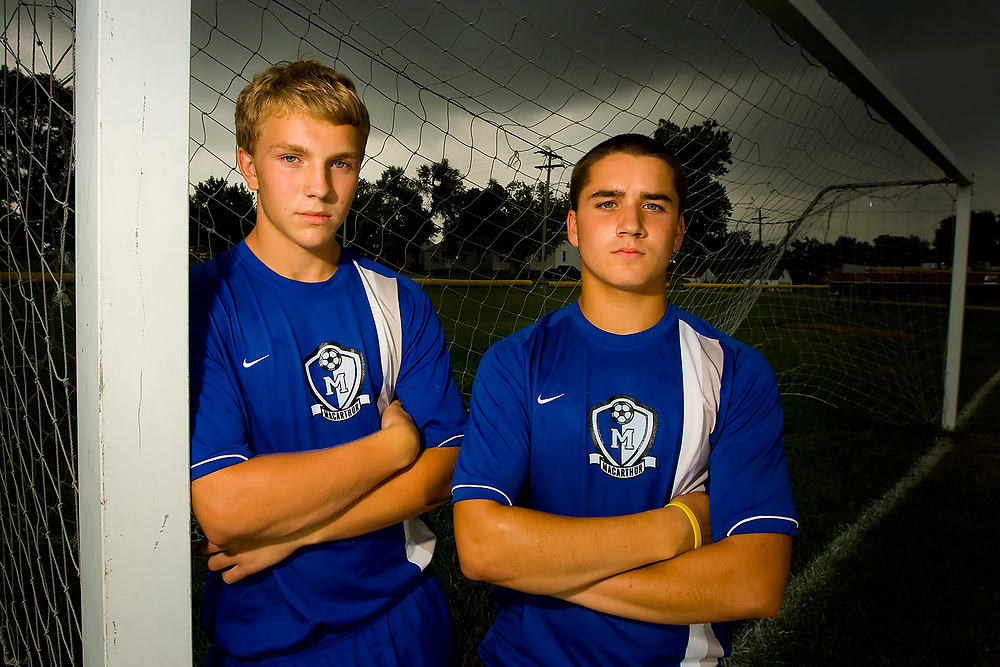 SOCCER PLAYERS<br /> MacArthur High School juniors Miles Henderson (left) and Michael Vercellino pose for a portrait on the practice fields at the school Wednesday, Sept. 3, 2008, in Decatur, Ill.