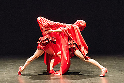 © Licensed to London News Pictures. 26/11/2015. London, UK. The world premiere of Nora is the coming together of dancers Eleanor Sikorski and Flora Wellesley Wesley at Sadler's Wells Lilian Baylis Studio from Thursday 26 November. In their first collaborative endeavour they perform an evening of new works by Liz Aggiss, acclaimed duo Jonathan Burrows and Matteo Fargion, and up and coming French choreographer Simon Tanguy. Picture features BLOODY NORA! by Liz Aggiss.<br /> Photo credit : Tony Nandi/LNP