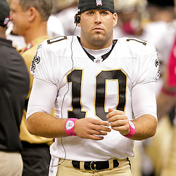 2009 October 04: New Orleans Saints quarterback Chase Daniel (10) on the sideline during a 24-10 win by the New Orleans Saints over the New York Jets at the Louisiana Superdome in New Orleans, Louisiana.