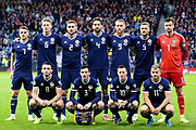 Scotland  Team picture L-R Scotland forward James Forrest (7) (Celtic) Scotland midfielder Scott McTominay (6) (Manchester United) Scotland defender Stephen O?Donnell (2) (Kilmarnock) Scotland defender Charlie Mulgrew (4) (Wigan Athletic) Scotland forward Oliver McBurnie (9) (Sheffield United) Scotland defender Liam Cooper (5) (Leeds United) Scotland goalkeeper David Marshall (1) (Wigan Athletic) Front row L-R Scotland midfielder John McGinn (8) (Aston Villa) Scotland defender Andrew Robertson (3) (Liverpool) Scotland midfielder Callum McGregor (10) (Celtic) Scotland forward Ryan Fraser (11) (AFC Bournemouth) during the UEFA European 2020 Qualifier match between Scotland and Russia at Hampden Park, Glasgow, United Kingdom on 6 September 2019.