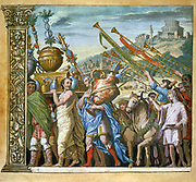 The triumph of Julius Caesar, Andrea Andreani (1540-1623) Italian wood engraver. Plate 4 from his 'Triumphus Caesari' c1598,  after Andrea Mantegna (1431-1506) Italian artist. Trumpeters following trophies in triumphal procession.